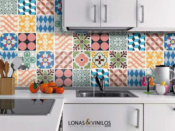 Da vida a tu cocina con estos vinilos para azulejos for Vinilos pared azulejos