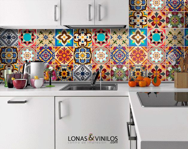Da vida a tu cocina con estos vinilos para azulejos for Azulejos decorativos cocina